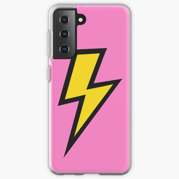 Éclair jaune avec fond rose Coque souple Samsung Galaxy