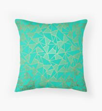 Glam Faux Gold and Teal Triangle Geometric Throw Pillow