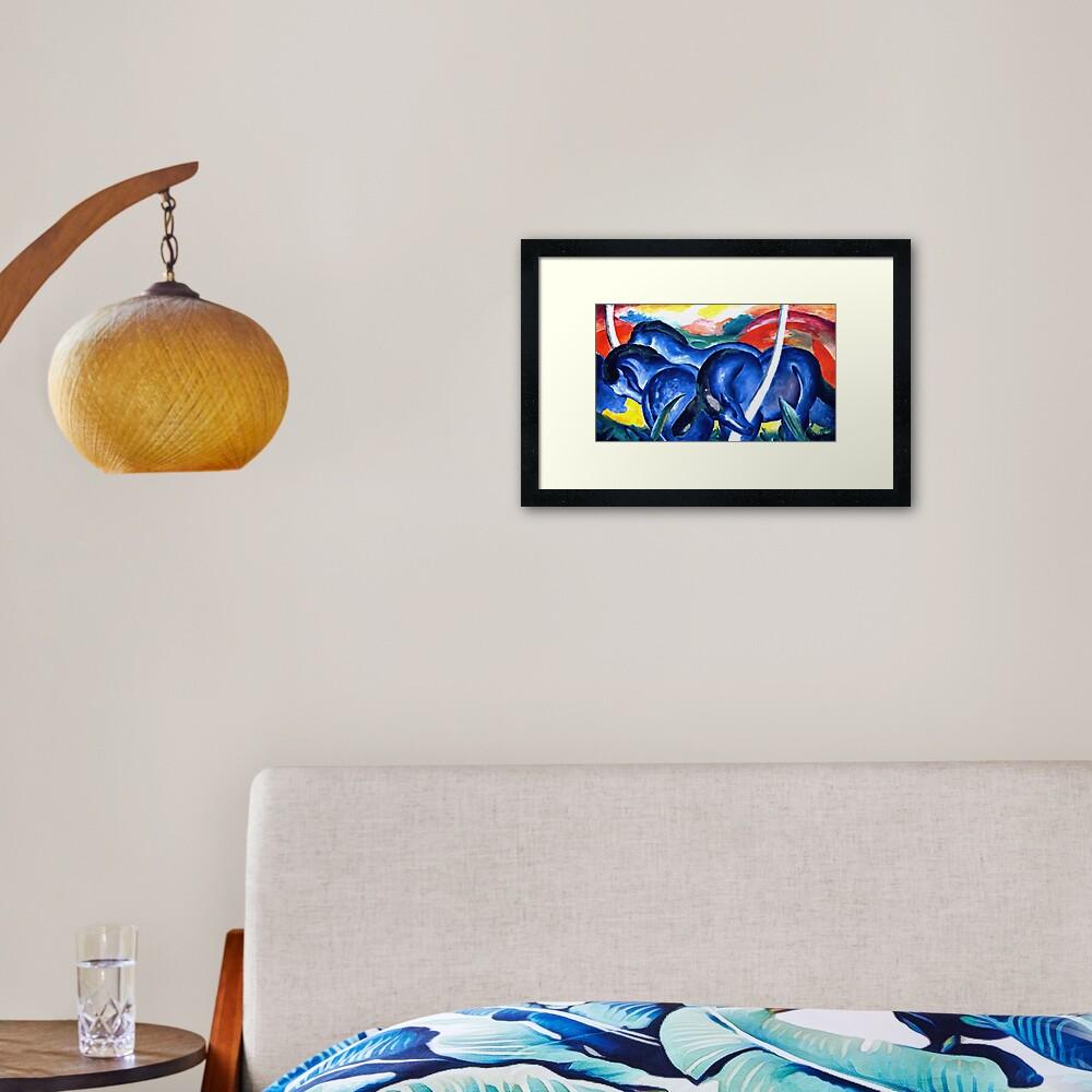 Franz Marc - The Large Blue Horses (Die grossen blauen Pferde) 1911 Artwork Reproduction for Wall Art, Prints, Tshirts, Men, Women, Kids Framed Art Print