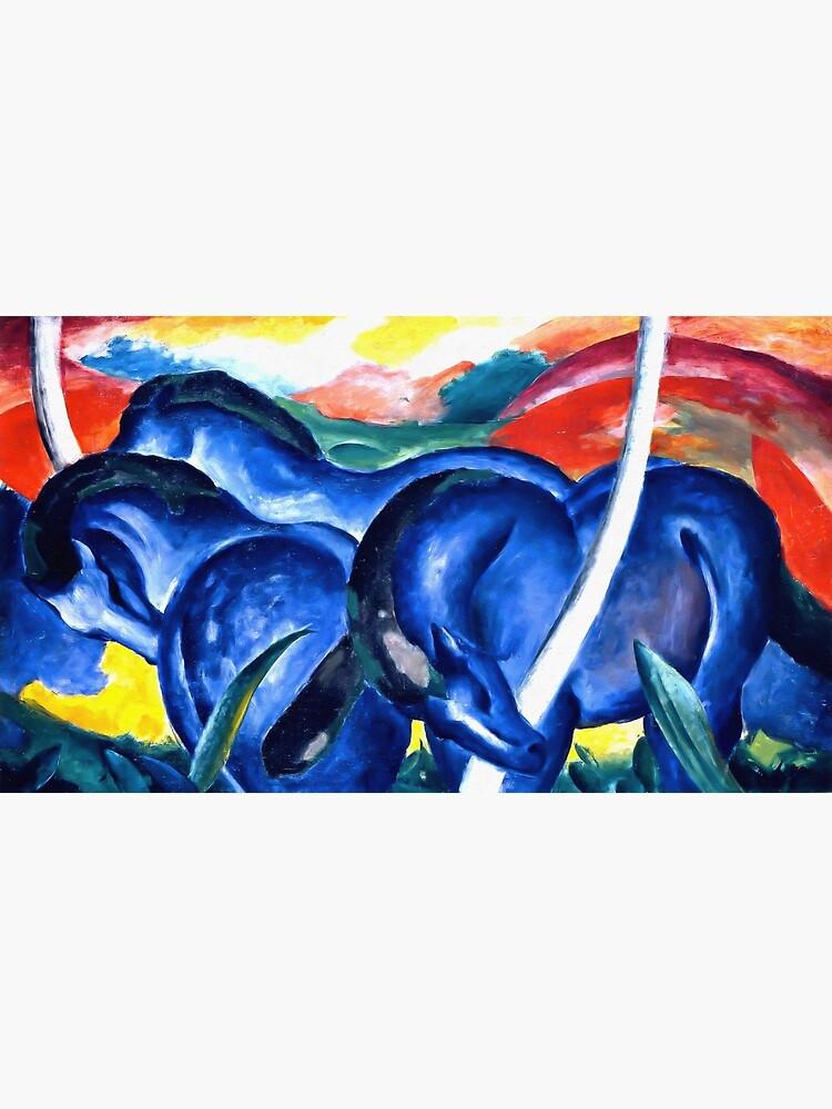 Franz Marc - The Large Blue Horses (Die grossen blauen Pferde) 1911 Artwork Reproduction for Wall Art, Prints, Tshirts, Men, Women, Kids by clothorama