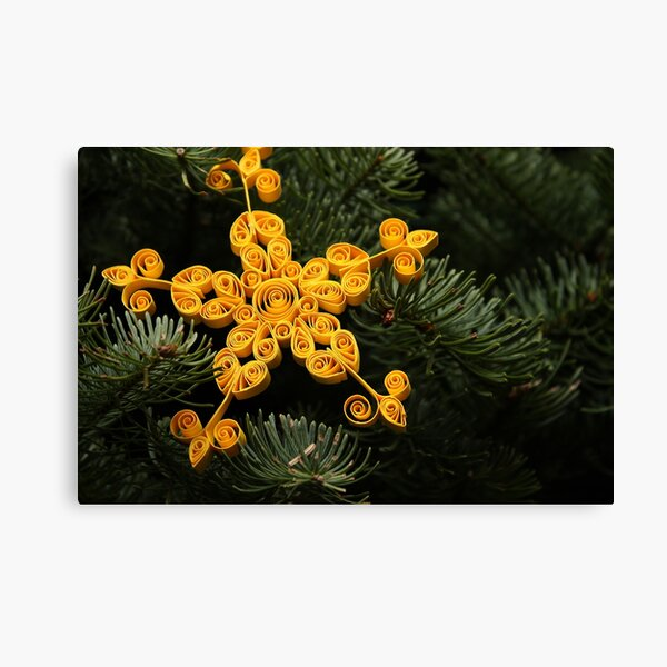 Simple Christmas Quilled Star on a Tree Canvas Print