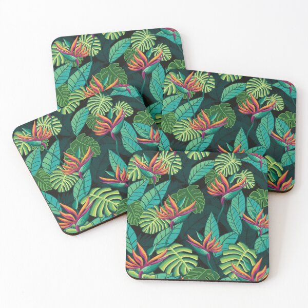 Birds in Paradise Black Coasters (Set of 4)