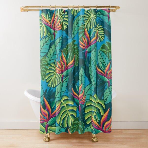 Birds in Paradise Blue Shower Curtain