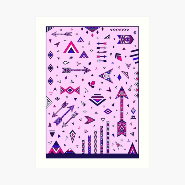 Arrows boho Sagittarius gift ethno pink blue Archer  Art Print