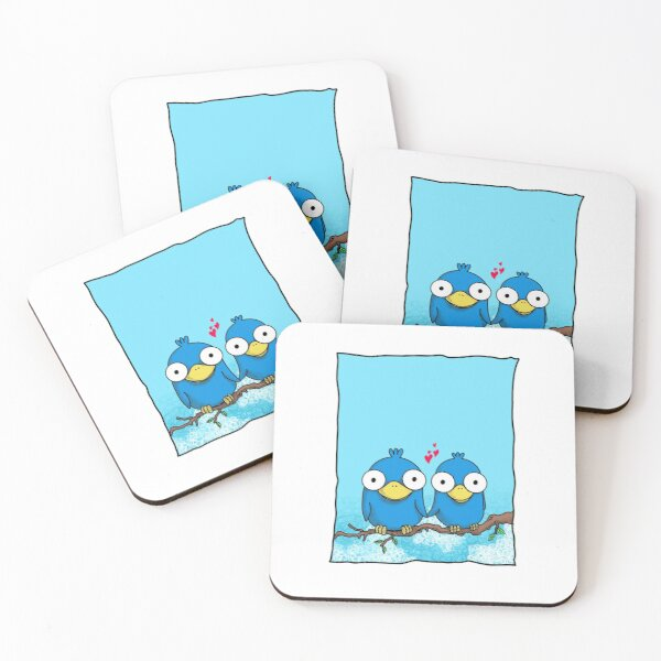 love birds in blue Coasters (Set of 4)