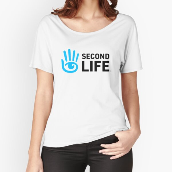 Second Life Logo Black Font Relaxed Fit T-Shirt