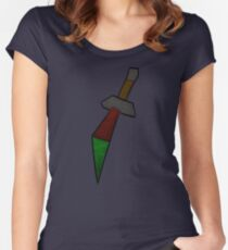 Dragon Dagger Print Women's Fitted Scoop T-Shirt
