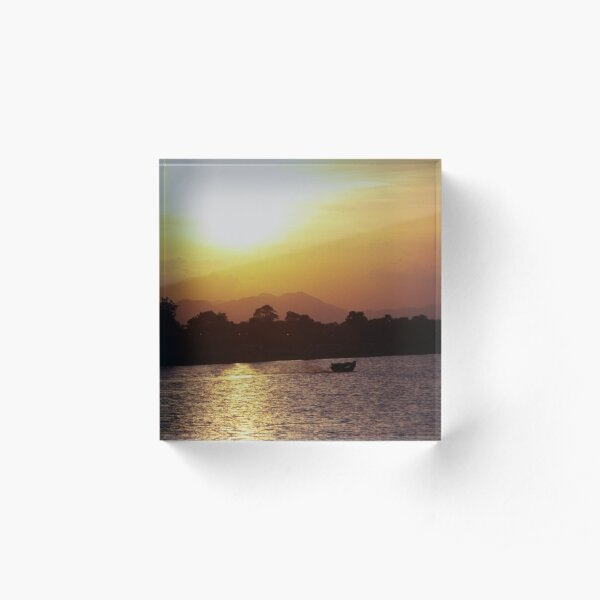Sunset and Boat Acrylic Block