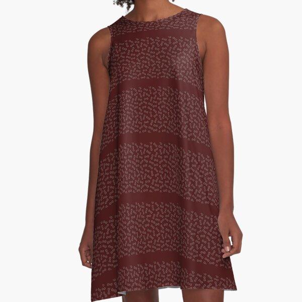 Dog - grey bones on burgundy background A-Line Dress