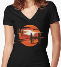 Ride of the Tie fighters Women's Fitted V-Neck T-Shirt