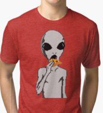 Alien eat pizza Tri-blend T-Shirt