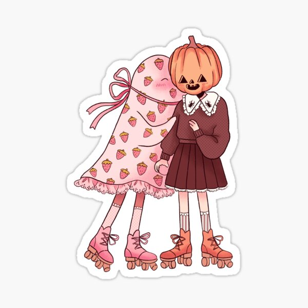 Skater Ghost and Pumpkin Sticker