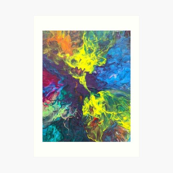 Swirly Blue, Green Purple, Yellow, Orange, Red Nebula Space Abstract Acrylic Art Art Print