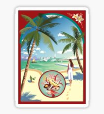 Art Deco Flying Boat - Aitutaki, Cook Islands Sticker