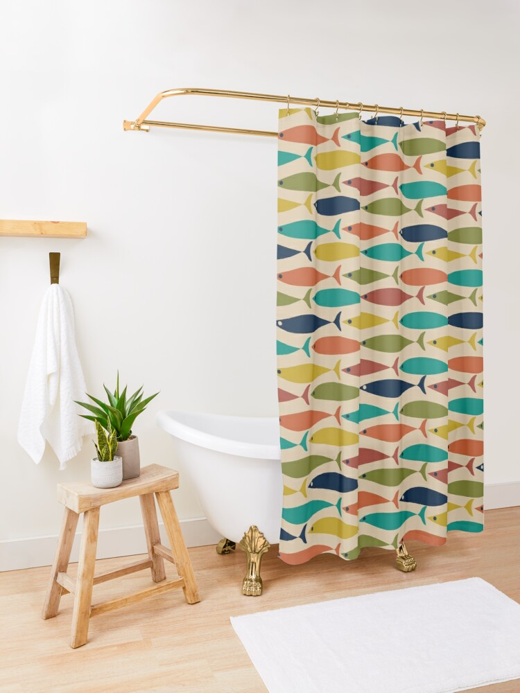 Alternate view of Midcentury Modern Multicolored Fish Pattern in Mid Mod Turquoise Teal, Olive, Orange, Mustard, and Beige Shower Curtain