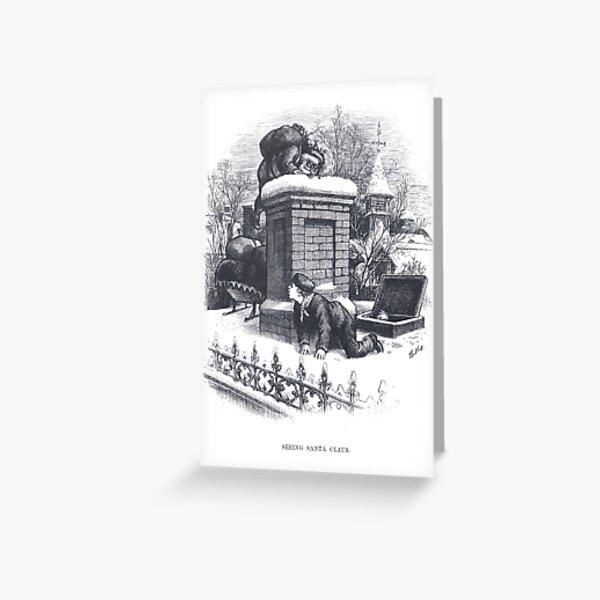 "Vintage Christmas Etching ""Seeing Santa Claus"" by Thomas Nast Greeting Card"
