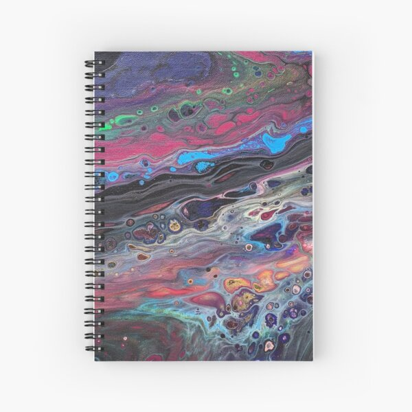 Vibrant Multi-color Blue, Aqua, Red and Green Abstract Acrylic Art Spiral Notebook