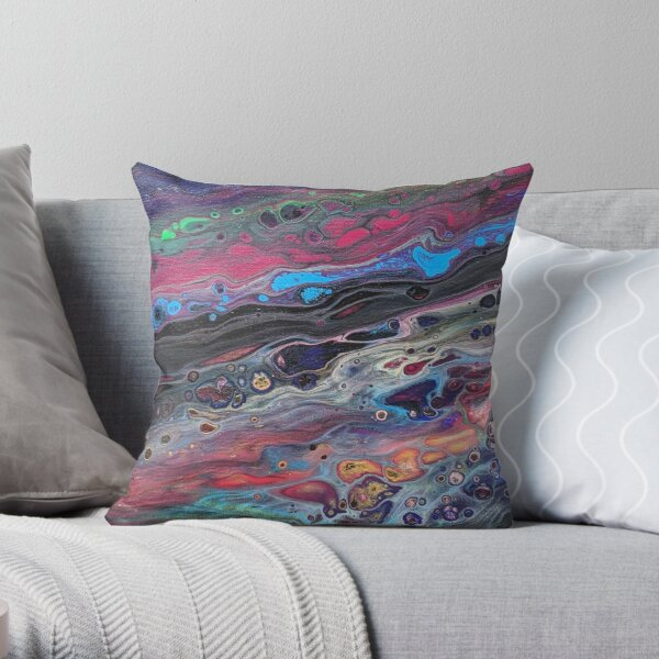 Vibrant Multi-color Blue, Aqua, Red and Green Abstract Acrylic Art Throw Pillow