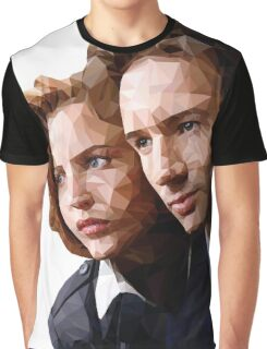 Low Poly X-Files Mulder and Scully Graphic T-Shirt