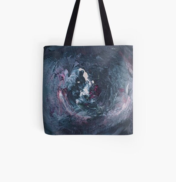 Blue and Purple, Moody, Stormy Hurricane Abstract Acrylic Art All Over Print Tote Bag