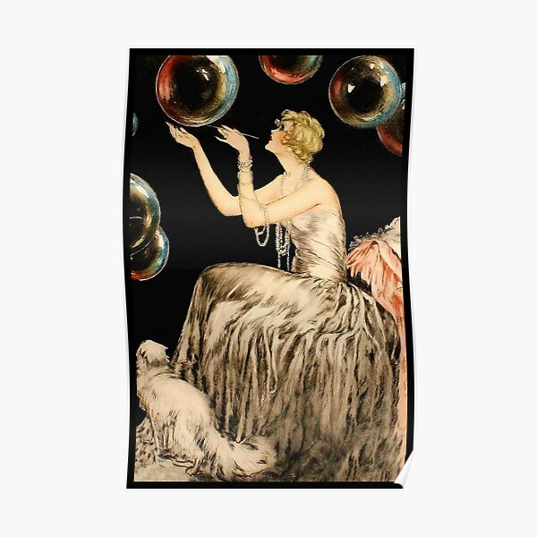 Enchanting Whimsical French Art Deco Woman Fashion illustration Poster