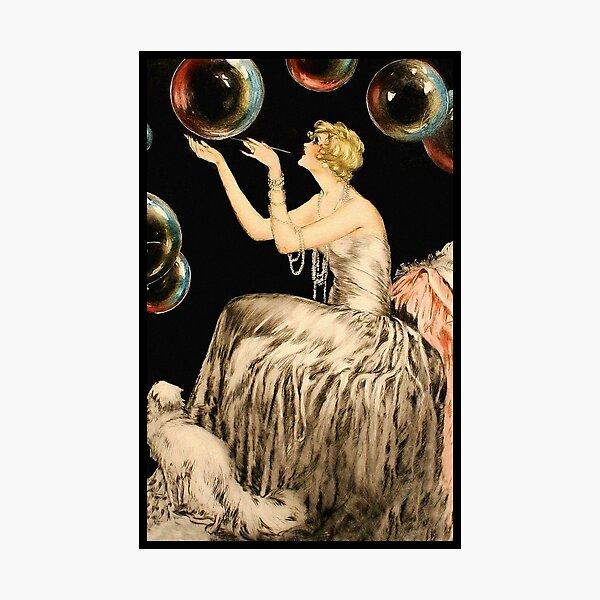 Enchanting Whimsical French Art Deco Woman Fashion illustration Photographic Print