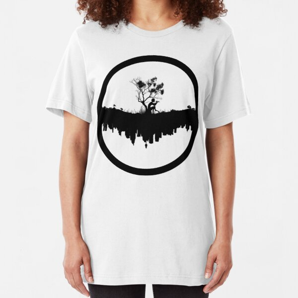Urban Faun - Black on White Slim Fit T-Shirt