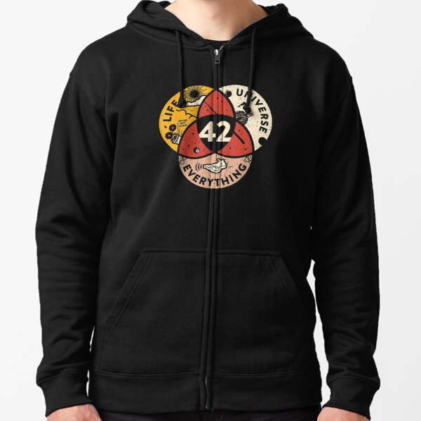 42 Answer to Life Universe and Everything Zipped Hoodie