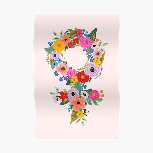 Floral Feminist - The Peach Fuzz Poster
