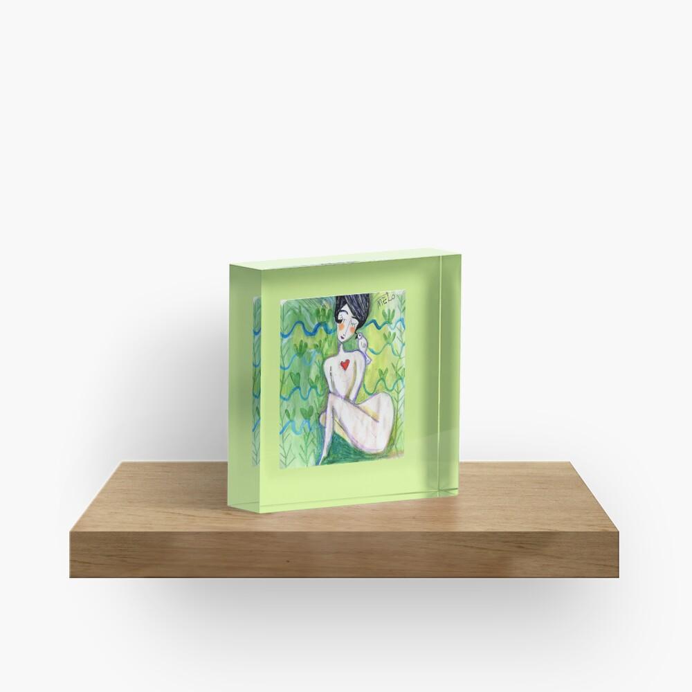 Shy Lady Acrylic Block
