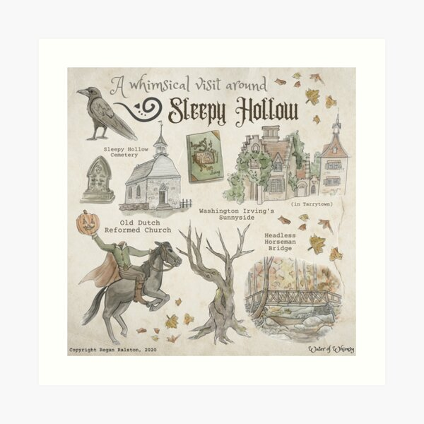 Whimsical Visit to Sleepy Hollow Illustration in Watercolor Art Print