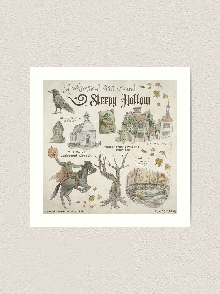 Alternate view of Whimsical Visit to Sleepy Hollow Illustration in Watercolor Art Print