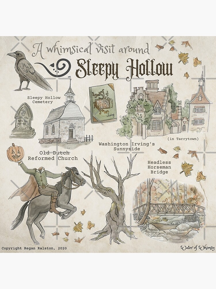 Whimsical Visit to Sleepy Hollow Illustration in Watercolor by WitchofWhimsy