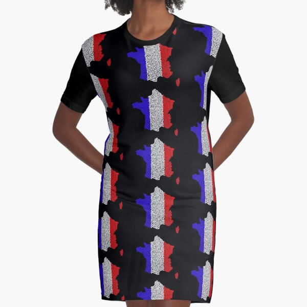 France Map and Flag Graphic T-Shirt Dress