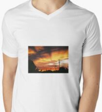 Firey Sunset Streetscape Men's V-Neck T-Shirt