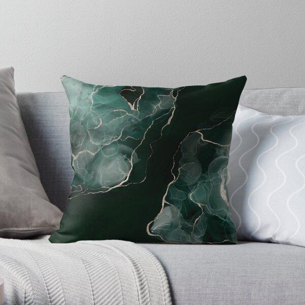 Emerald Green Abstract Art Throw Pillow