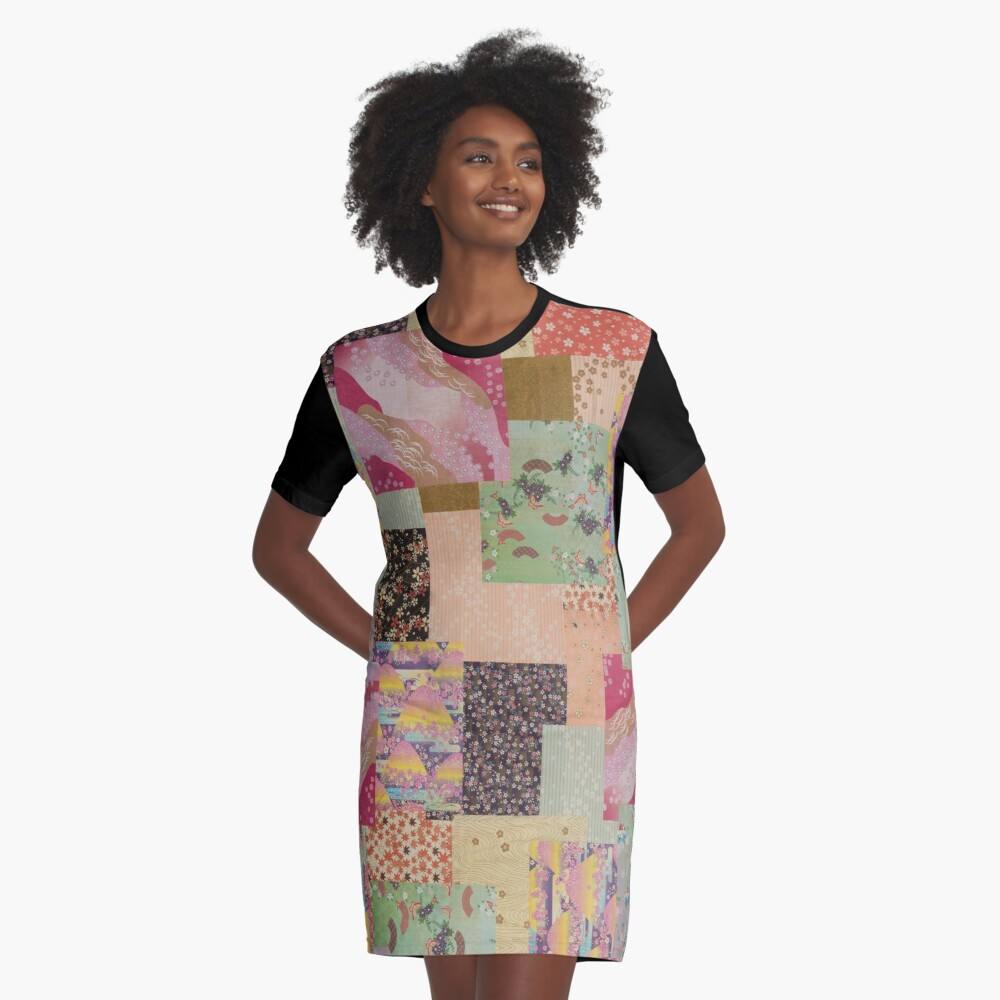 Quilted Origami Collage Graphic T-Shirt Dress