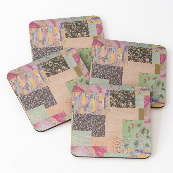 Quilted Origami Collage Coasters (Set of 4)
