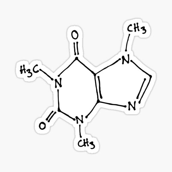 Estructura molecular de la molécula de cafeína dibujada a mano Pegatina