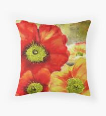 Morpheus's Abstract Red Poppies Throw Pillow