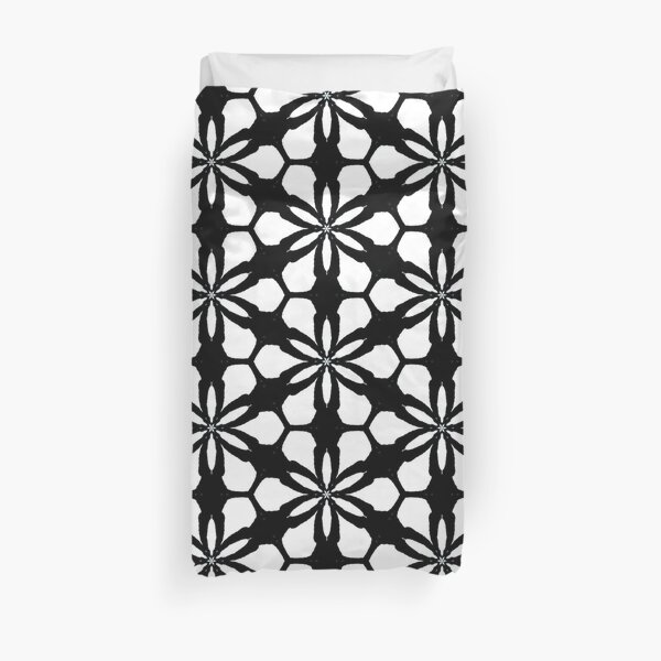 Black and white floral pattern Duvet Cover