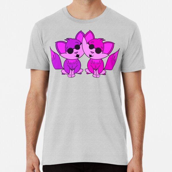 Cute Cool Foxes Couple Purple Pink Premium T-Shirt