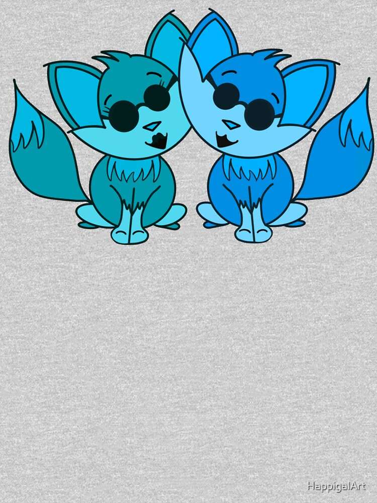 Cute Cool Foxes Couple Teal and Blue by HappigalArt