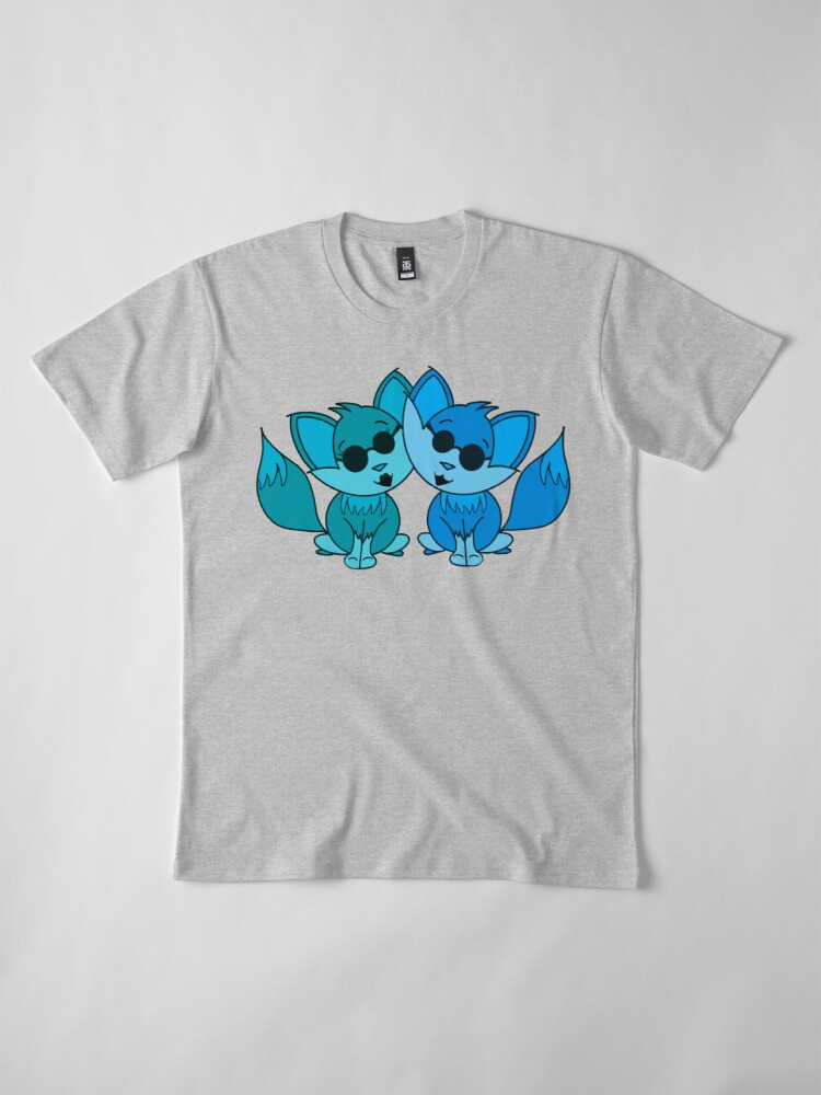 Alternate view of Cute Cool Foxes Couple Teal and Blue Premium T-Shirt
