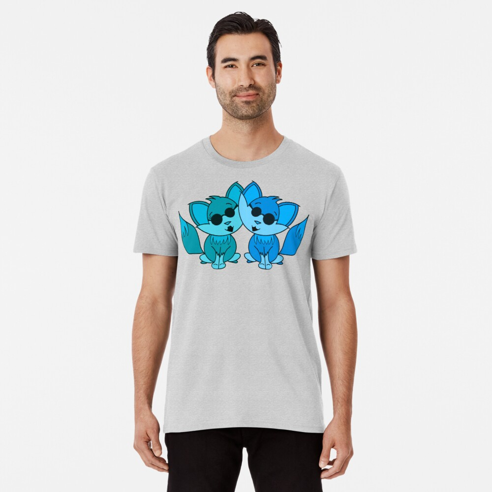 Cute Cool Foxes Couple Teal and Blue Premium T-Shirt