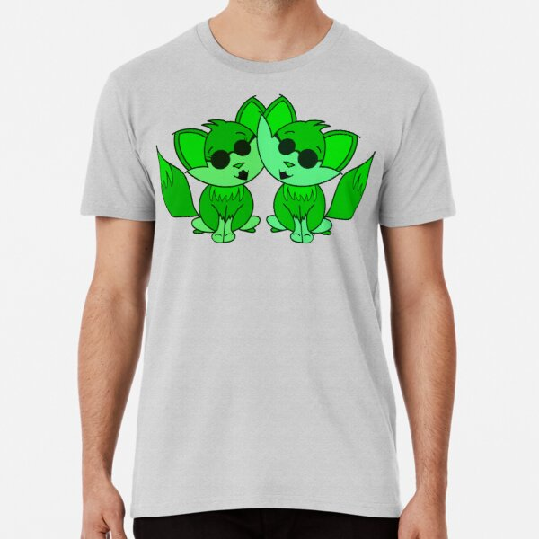 Cute Cool Foxes Couple Green Premium T-Shirt