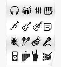 Musical Instrument Black Poster
