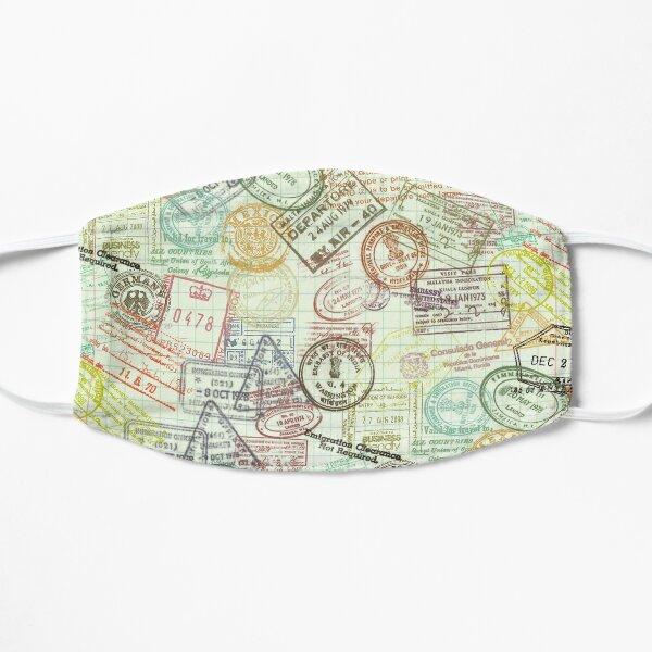 """Around the World"" Passport Stamps Collage Flat Mask"