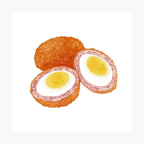 Watercolor Illustration of a Snack Food Scotch Egg Photographic Print