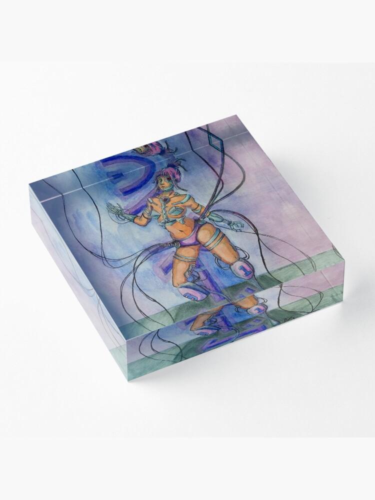 Alternate view of Saibo-gu - Cyberpunk Watercolor Painting of a Cyborg Acrylic Block